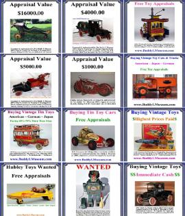 buying vintage toy collections free consultations, tin toy collectors,buddy l museum buying antique toy collections highest prices paid Rare toy collections wanted